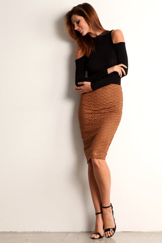 Faux Suede Laser Cut Pencil Skirt-11
