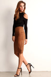 Faux Suede Laser Cut Pencil Skirt-10