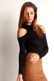 Faux Suede Laser Cut Pencil Skirt-13