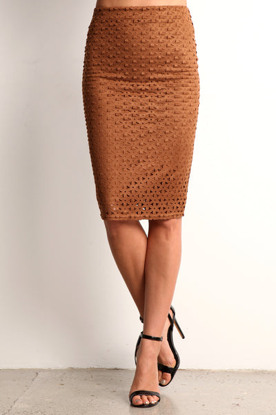 Faux Suede Laser Cut Pencil Skirt-15