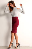 Faux Suede Laser Cut Pencil Skirt-1