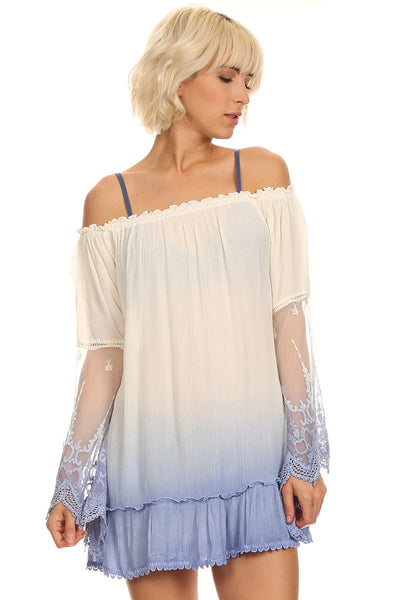 Ombre Off Shoulder Dress-2