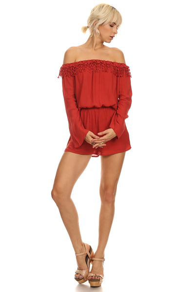Off the Shoulder Fringe Romper-13
