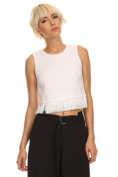 Fringed Hem Cropped Tank Top-2