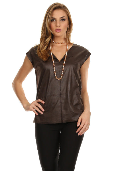 Faux Leather Boxy Top-1