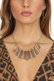 Mixed Metal Geometric Stick Frontal Necklace Set-2
