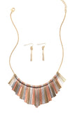 Mixed Metal Geometric Stick Frontal Necklace Set-1