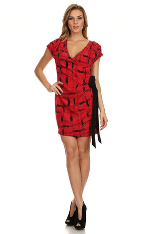 Trendy Red Faux Wrap Dress-1