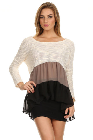 Color Blocked Hi Lo Ruffle Tunic Sweater-1