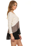 Color Blocked Hi Lo Ruffle Tunic Sweater-4