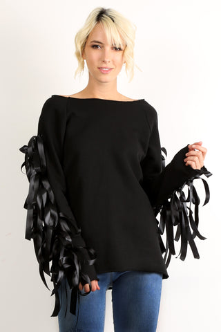 Robin - Ribbon Bow Accented Long Sleeve Top