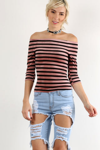 Blushful - Striped Off Shoulder Ribbed Velveteen Top