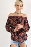Giselle - Floral Patterned Wrist Tie Smocked Off Shoulder Top