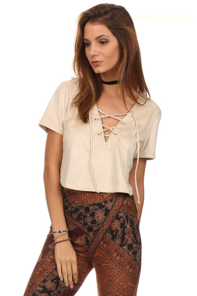 Faux Suede Laced Up Bust Crop Top-2