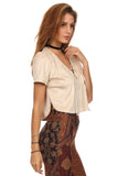 Faux Suede Laced Up Bust Crop Top-3