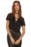 Faux Suede Laced Up Bust Crop Top-7