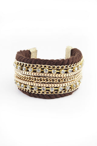 Brown Embellished Statement Bracelet