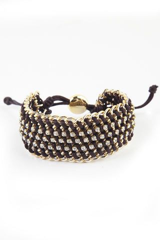 Brown Chain and Crystal Woven Bracelet
