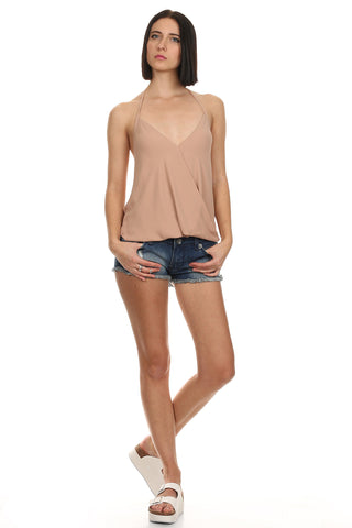 Champagne Sleeveless Wrap Top-2