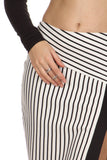 Black & White Striped High Slit Pencil Skirt-11