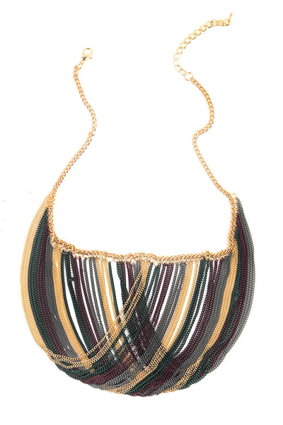 Multi Chain Draped Statement Necklace