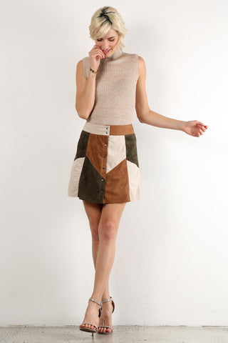 Lois - Faux Suede Colorblock Patchwork Mini Skirt