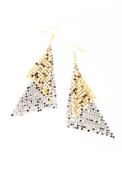 Silver & Gold Mesh Chain Earrings