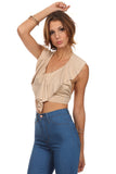 Faux Suede Halter Crop Top-8