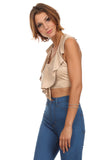 Faux Suede Halter Crop Top-9