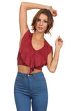 Faux Suede Halter Crop Top-2