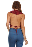 Faux Suede Halter Crop Top-5