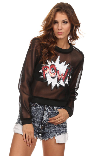 Black Mesh Graphic Sweater-2