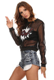 Black Mesh Graphic Sweater-3