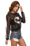 Black Mesh Graphic Sweater-4