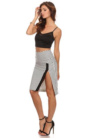 Black & White Striped High Slit Pencil Skirt-1