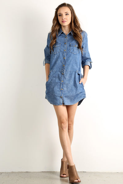 Acid Wash Denim Button Down Dress-1
