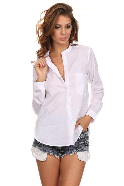 Mandarin Collar Button Down Blouse-1