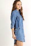 Acid Wash Denim Button Down Dress-6