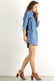 Acid Wash Denim Button Down Dress-4