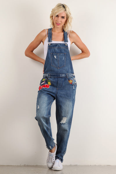 Denim Jean Overalls with Patches-1