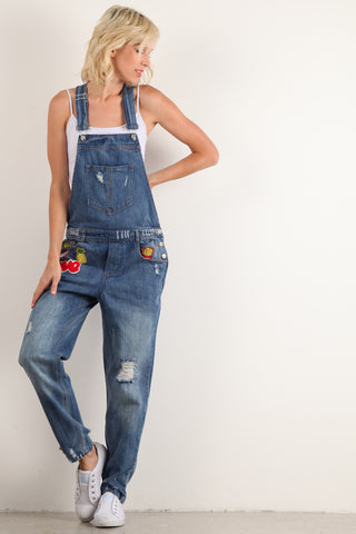Rosie - Denim Jean Overalls with Patches