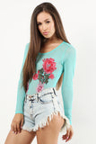 Charisma - Power Sheer Mesh Bodysuit with Floral Patches