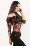 Charisma - Ruffled Off Shoulder Sheer Mesh Floral Pattern Bodysuit