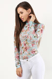 Charisma - Mock Neck Floral Pattern Sheer Mesh Bodysuit