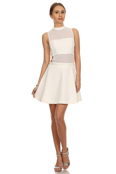 Aria- White Fit and Flare Dress-1