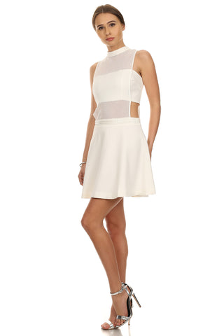 Aria- White Fit and Flare Dress-3