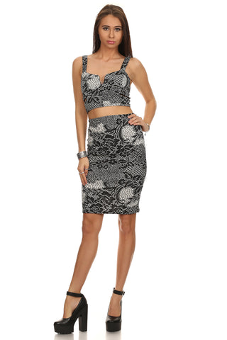 Lace Cut Out Corset Crop Top & High Waisted Pencil Skirt