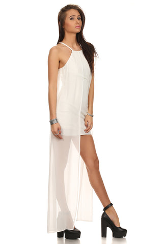 Sheer Overlay White Bodycon Dress-4