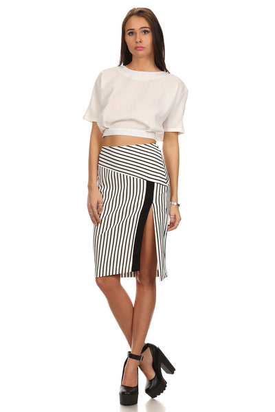 Black & White Striped High Slit Pencil Skirt-12