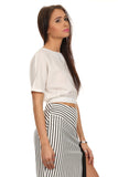 Black & White Striped High Slit Pencil Skirt-14